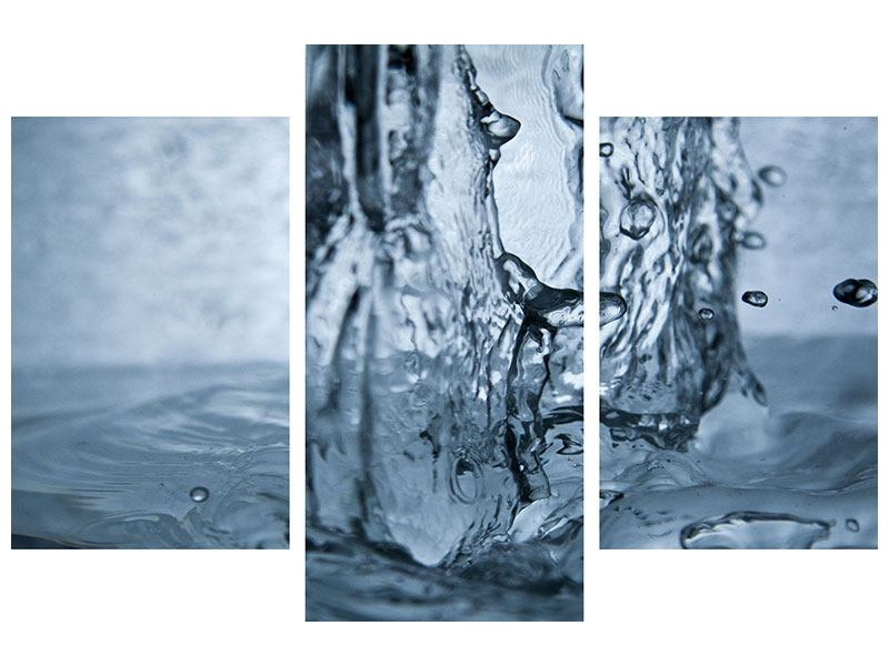 Poster 3-teilig modern Wasserdynamik