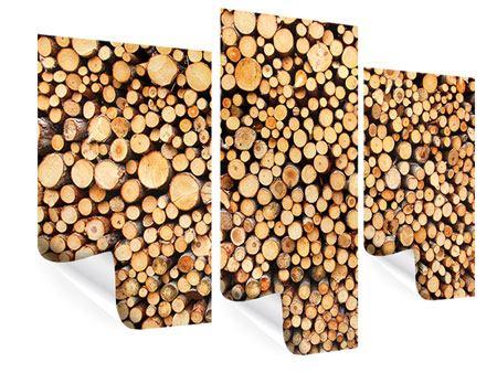Poster 3-teilig modern Holzstämme
