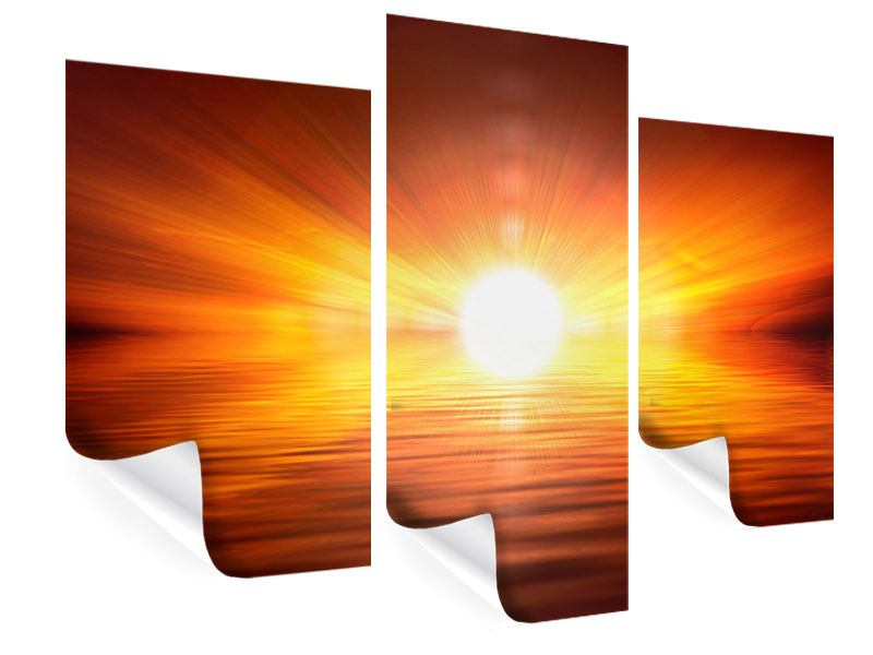 Poster 3-teilig modern Glühender Sonnenuntergang