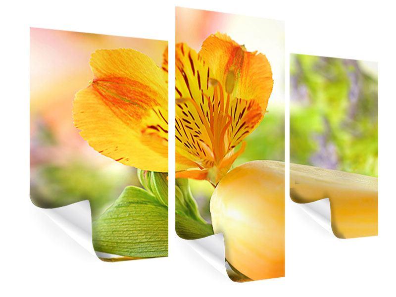 Poster 3-teilig modern Lilien-Frühstück