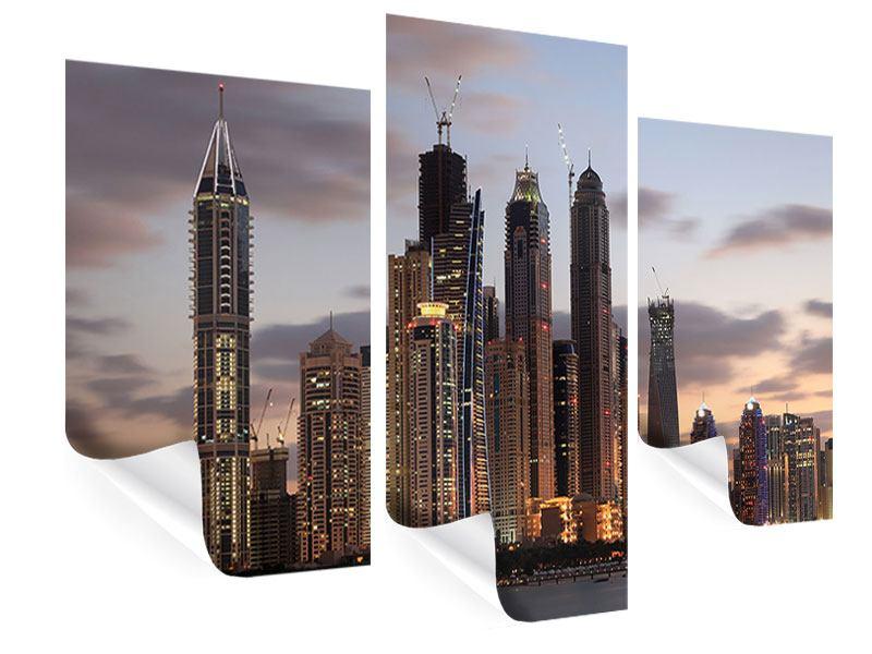 Poster 3-teilig modern Skyline Dubai bei Sonnenuntergang