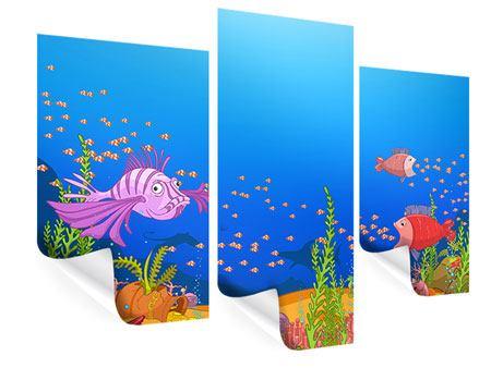 Poster 3-teilig modern Der Schatz unter Wasser