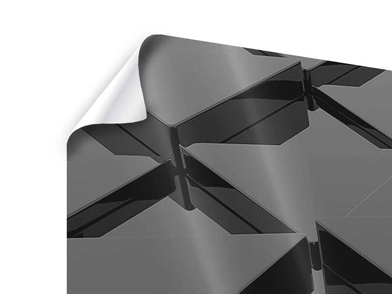 Poster 3-teilig modern 3D-Dreiecksflächen