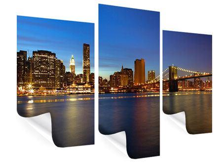 Poster 3-teilig modern Skyline Manhattan im Lichtermeer