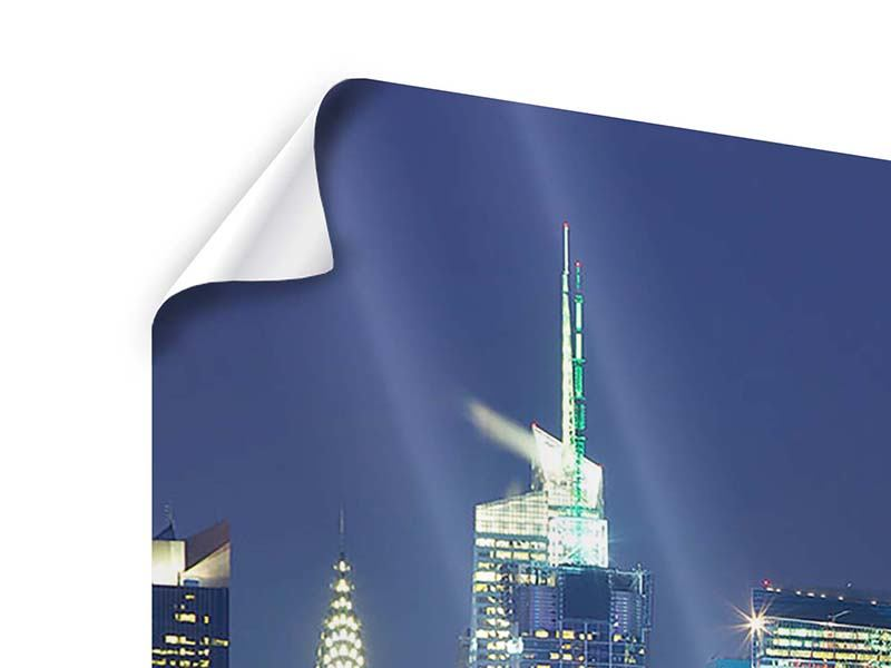 Poster 3-teilig modern Skyline New York Midtown bei Nacht