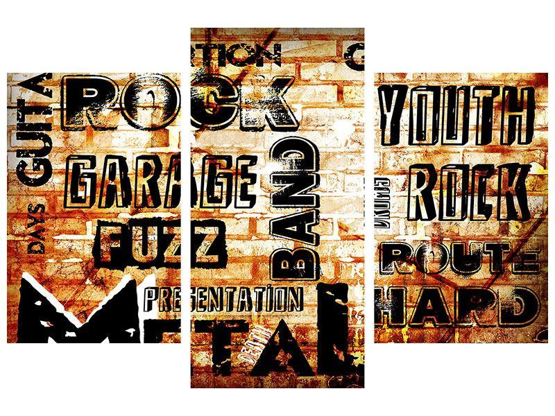 Poster 3-teilig modern Rock im Grungestil