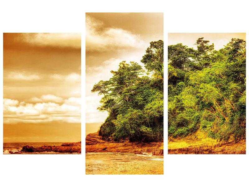 Poster 3-teilig modern Sonnenuntergang am Ende des Waldes
