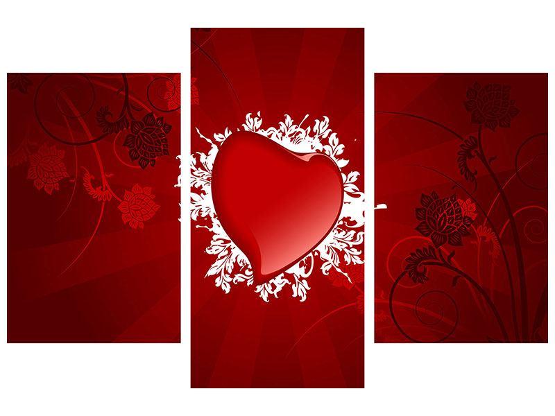 Poster 3-teilig modern Flying Heart
