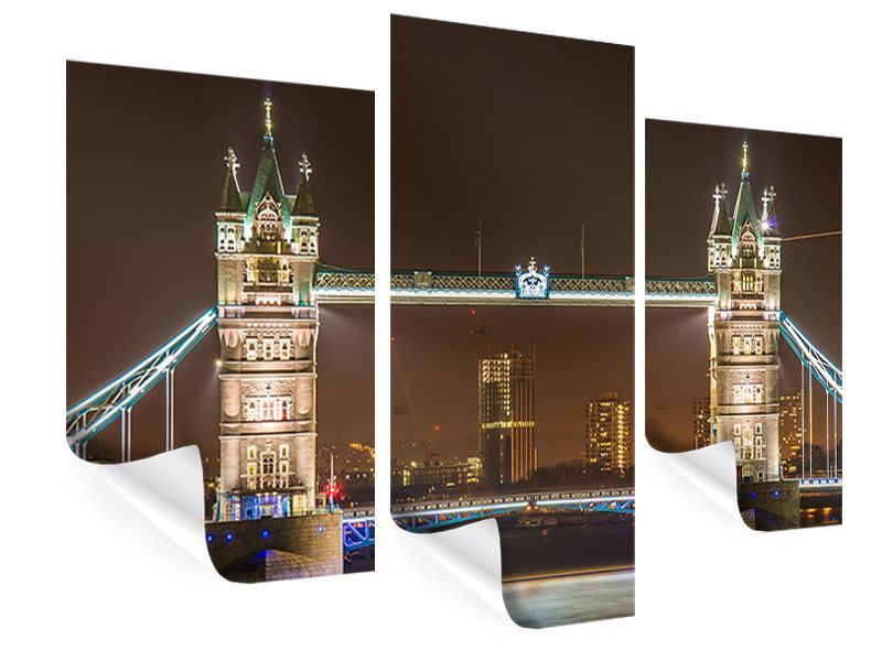 Poster 3-teilig modern Tower Bridge bei Nacht
