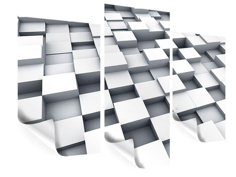 Poster 3-teilig modern 3D-Kubus