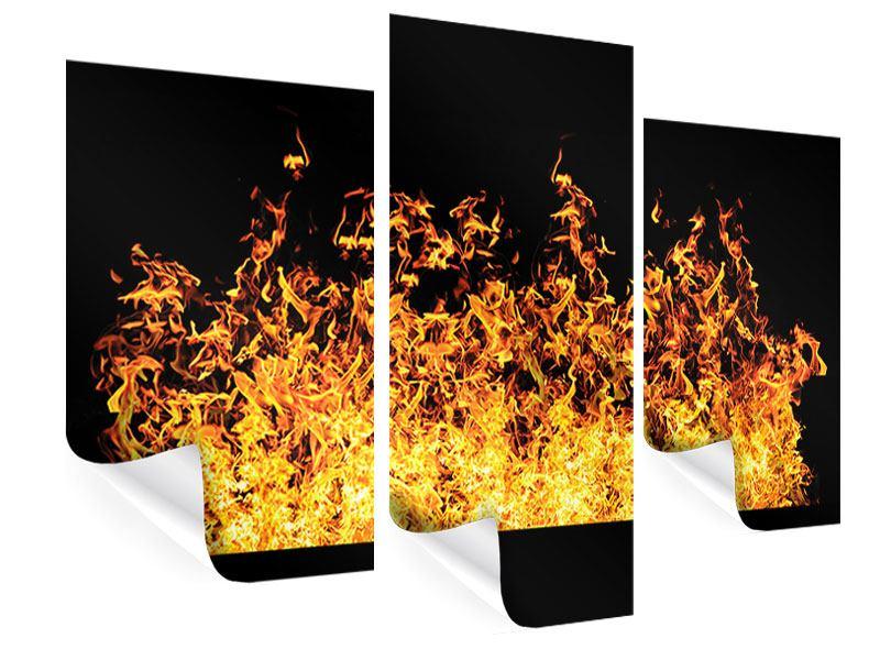 Poster 3-teilig modern Moderne Feuerwand