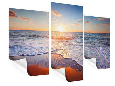 Poster 3-teilig modern Sonnenuntergang am Horizont