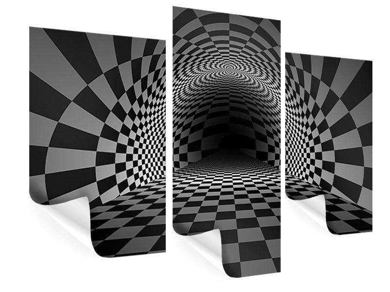 Poster 3-teilig modern Abstraktes Schachbrett