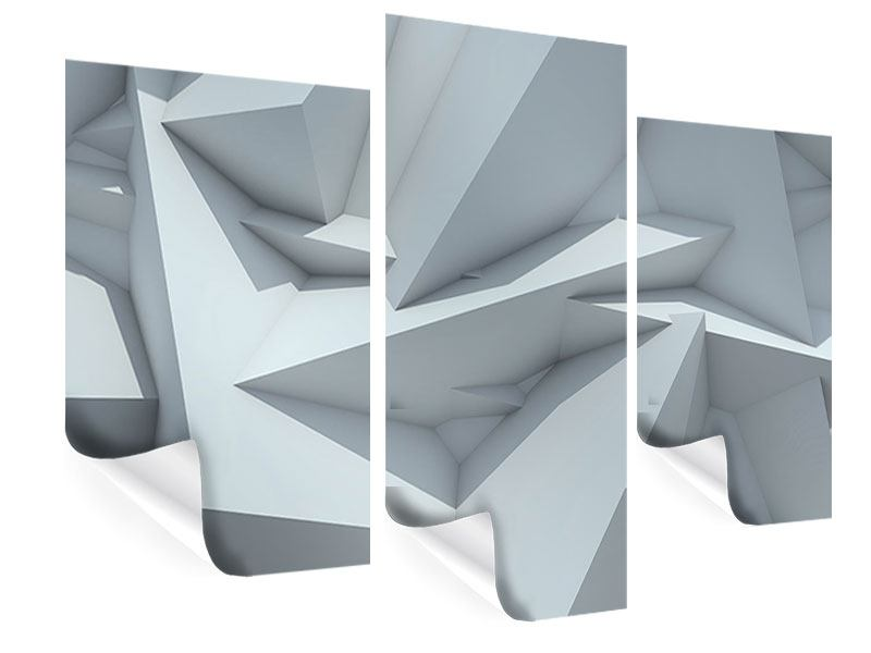 Poster 3-teilig modern 3D-Kristallo