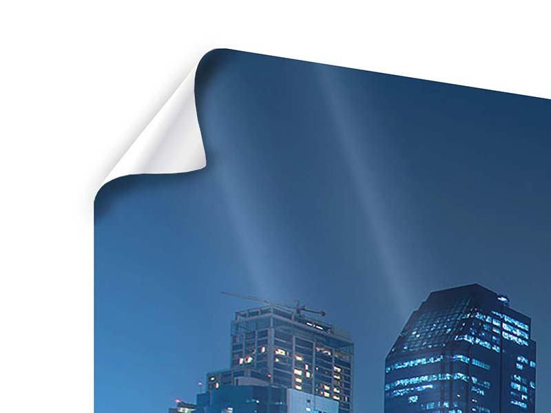 Poster 3-teilig modern Skyline Bangkok bei Nacht