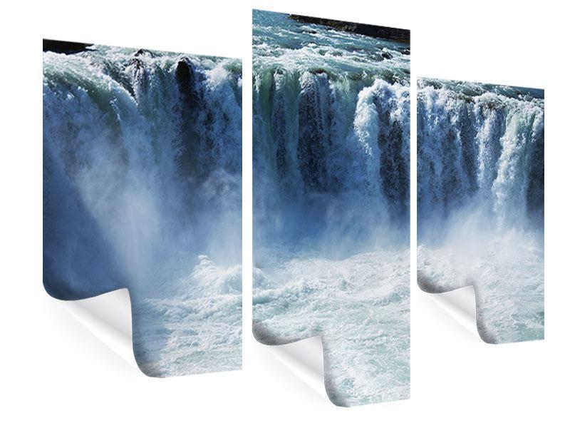 Poster 3-teilig modern Mächtiger Wasserfall