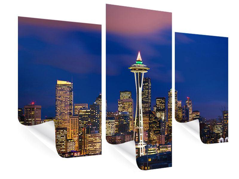 Poster 3-teilig modern Skyline Seattle