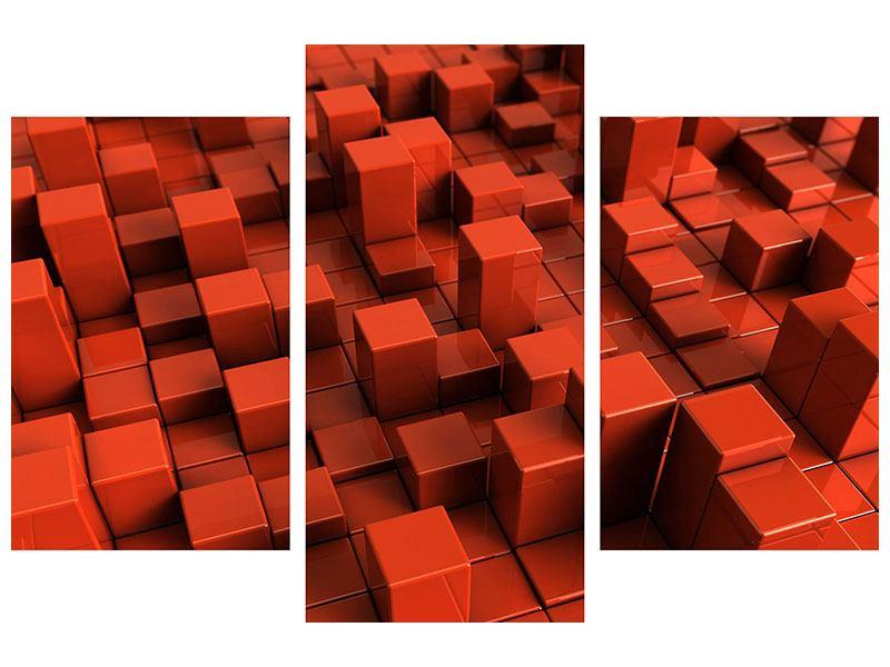 Poster 3-teilig modern 3D-Rechtkant