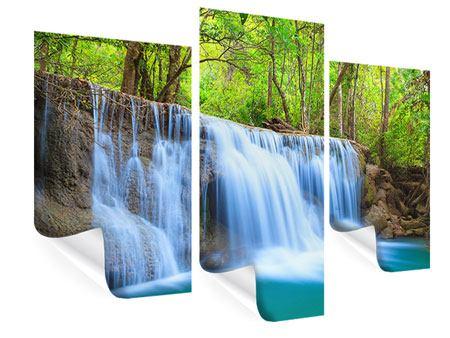 Poster 3-teilig modern Wasserfall Si Nakharin