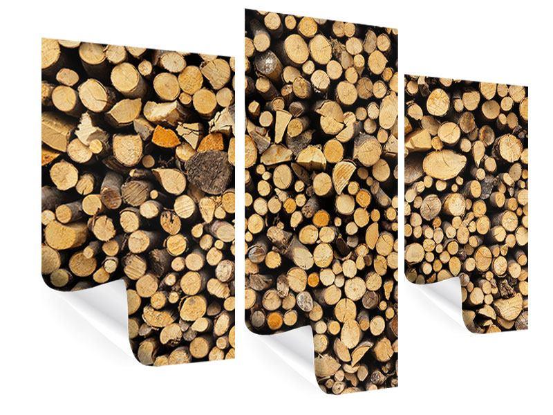 Poster 3-teilig modern Brennholz