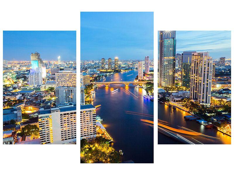 Poster 3-teilig modern Skyline Bangkok bei Sonnenuntergang