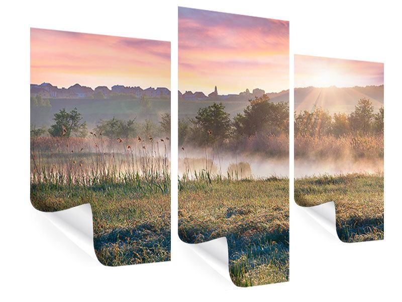 Poster 3-teilig modern Sonnenuntergang am Hügel