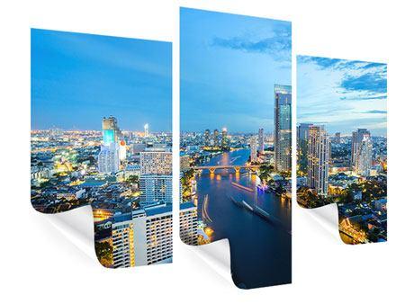 Poster 3-teilig modern Skyline Bangkok in der Abenddämmerung