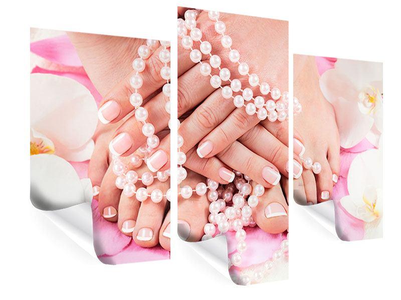 Poster 3-teilig modern Hände und Füsse