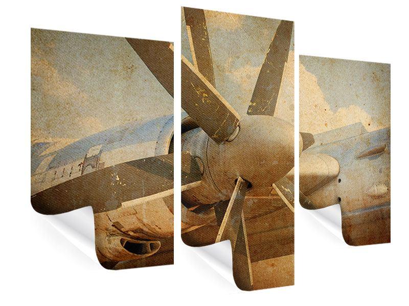 Poster 3-teilig modern Propellerflugzeug im Grungestil