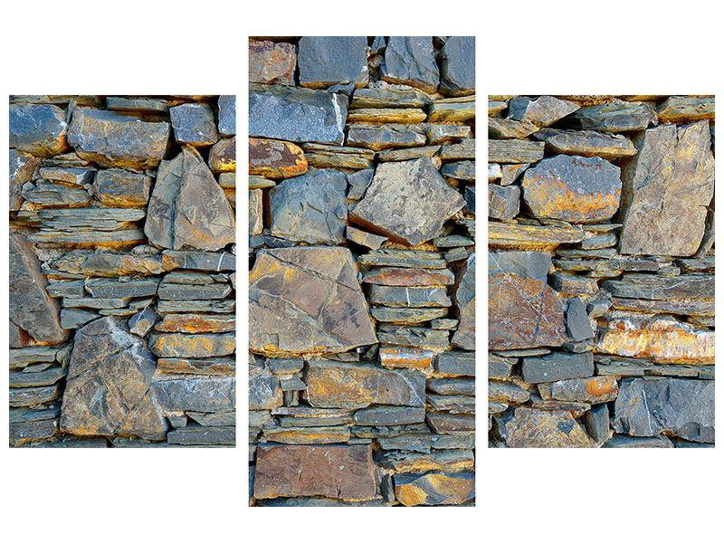 Poster 3-teilig modern Natürliche Steinmauer