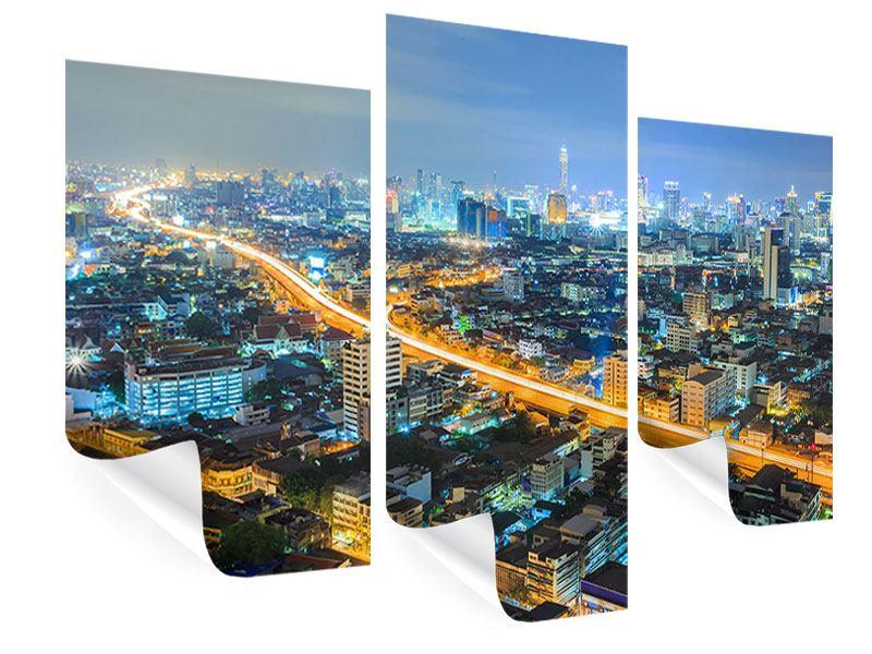 Poster 3-teilig modern Skyline Bangkok im Fieber der Nacht
