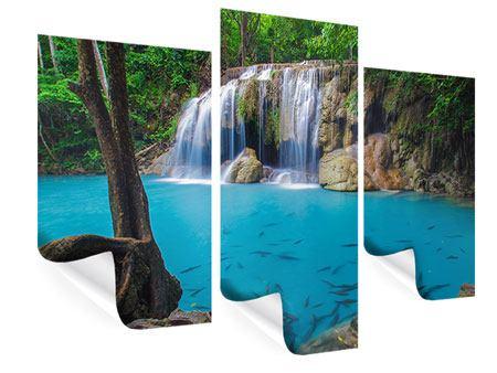 Poster 3-teilig modern Naturerlebnis Wasserfall