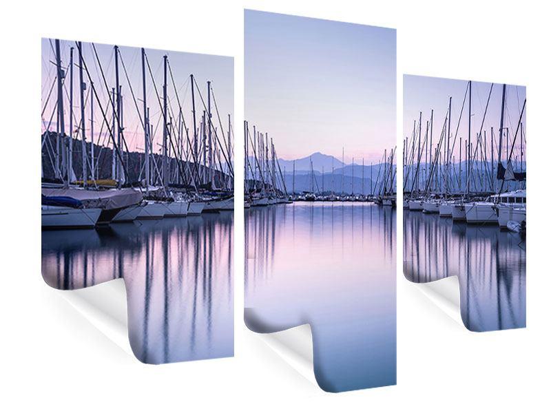 Poster 3-teilig modern Yachthafen