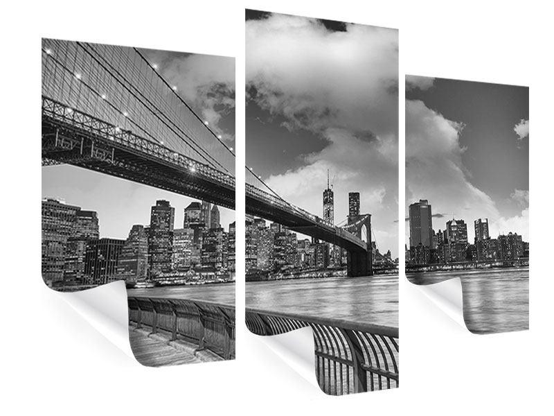 Poster 3-teilig modern Skyline Schwarzweissfotografie Brooklyn Bridge NY