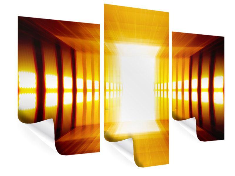 Poster 3-teilig modern Abstrakter Goldener Raum