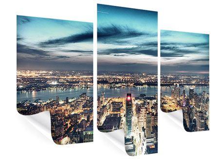 Poster 3-teilig modern Skyline Manhattan Citylights