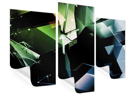 Poster 3-teilig modern 3D-Polygon