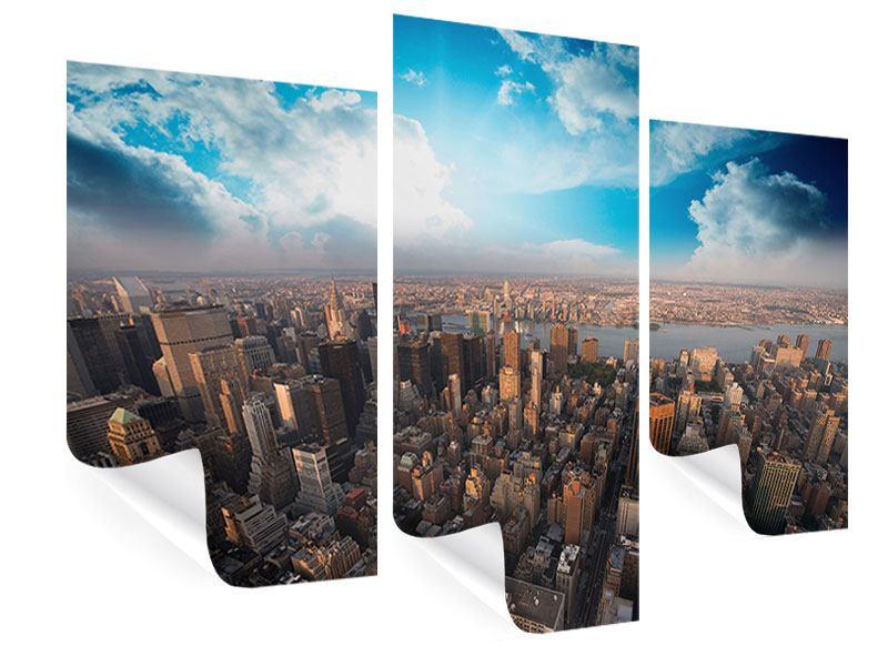 Poster 3-teilig modern Skyline Über den Dächern von Manhattan