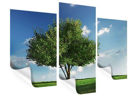 Poster 3-teilig modern Baum im Grün
