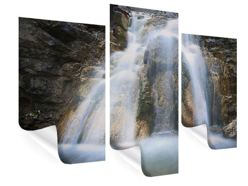 Poster 3-teilig modern Imposanter Wasserfall