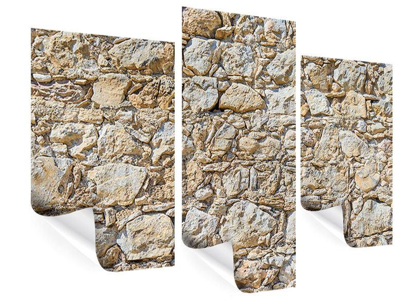 Poster 3-teilig modern Sandsteinmauer