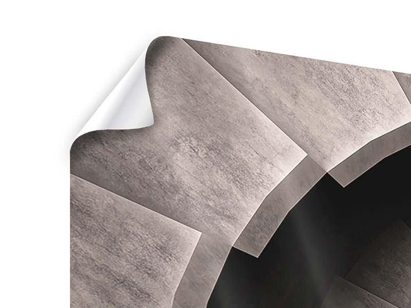 Poster 3-teilig modern Steinwendeltreppe