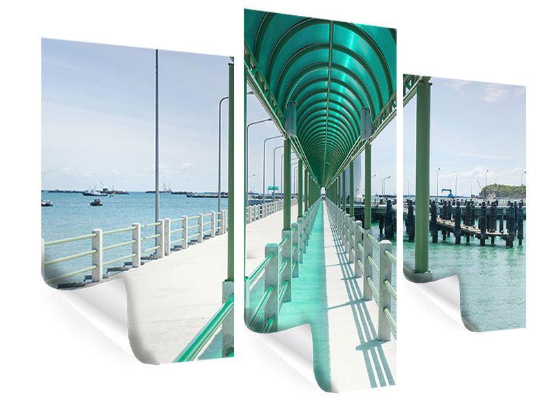 Poster 3-teilig modern Die Brücke am Meer