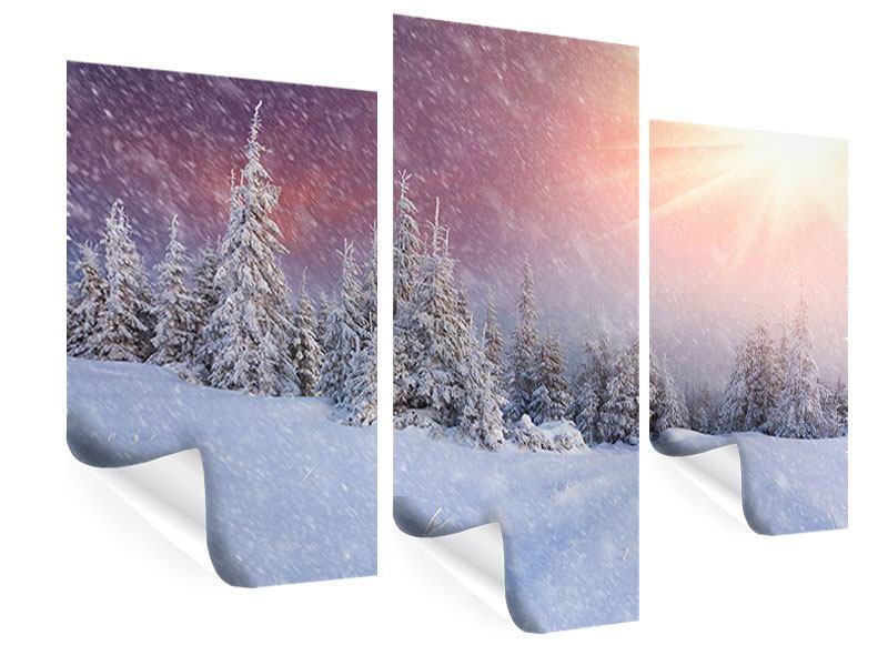 Poster 3-teilig modern Mystischer Schneesturm