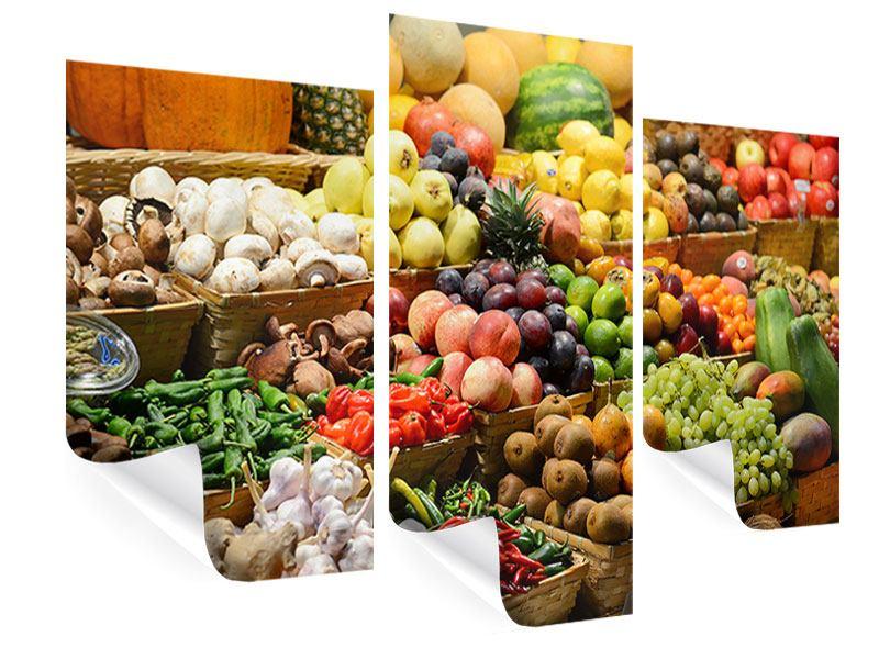 Poster 3-teilig modern Obstmarkt
