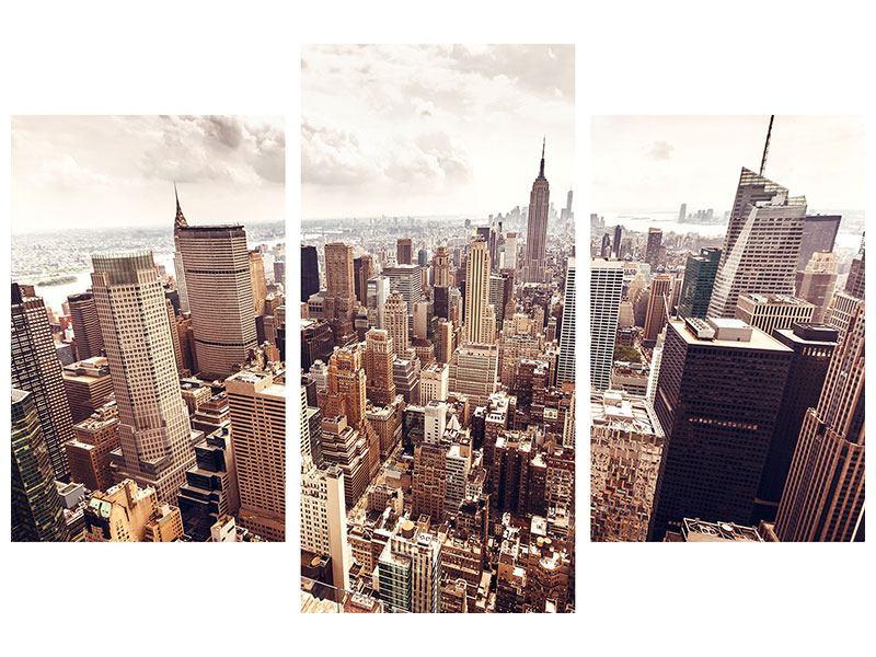 Poster 3-teilig modern Skyline Über den Dächern Manhattans