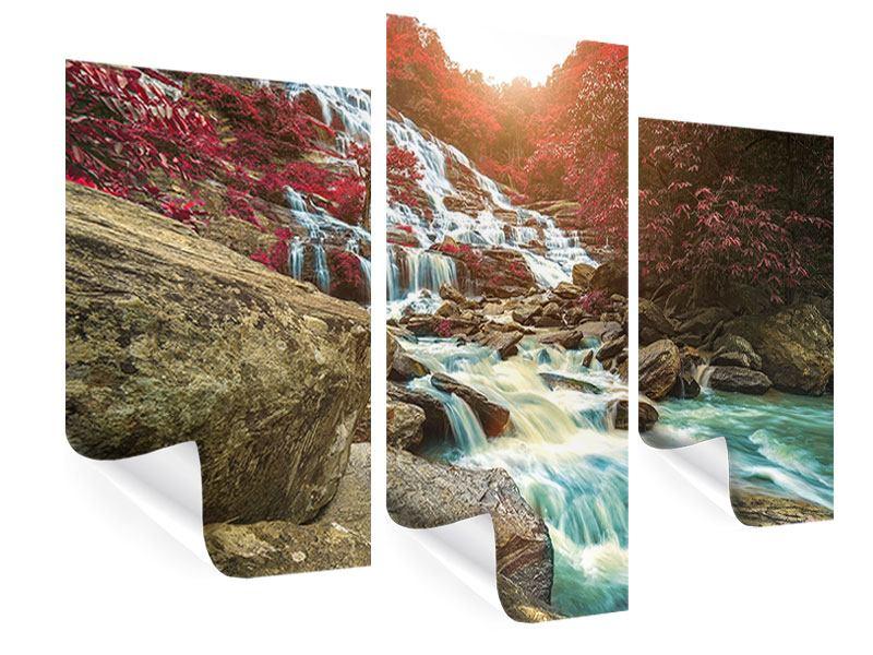 Poster 3-teilig modern Exotischer Wasserfall