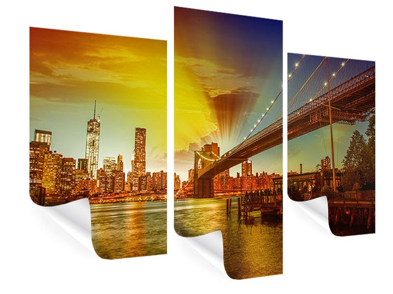 Poster 3-teilig modern Skyline Brooklyn Bridge NY