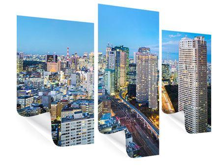 Poster 3-teilig modern Skyline Tokio im Lichtermeer