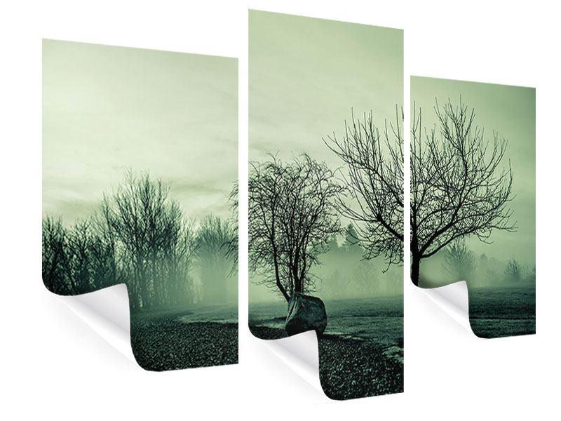 Poster 3-teilig modern Der Auwald im Nebel